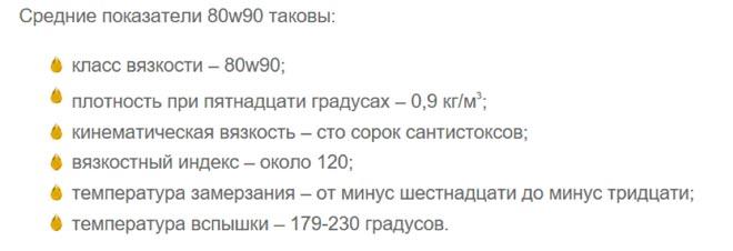 средние покзатели 80w90